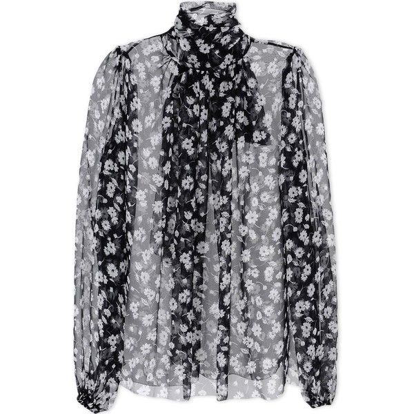 Dolce & Gabbana Blouse ($498) ❤ liked on Polyvore featuring tops, blouses, black, long sleeve chiffon blouse, black long sleeve blouse, pleated top, black long sleeve top and black chiffon top