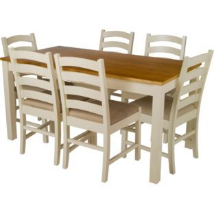 Buy Olney Pine Dining Table and 6 Upholstered Chairs at Argosco