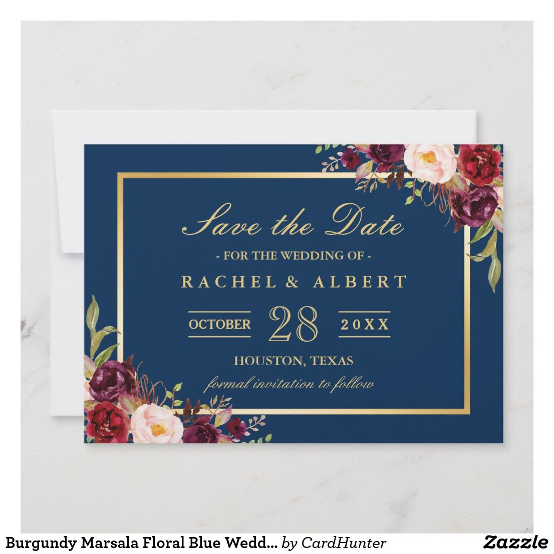 burgundy marsala floral blue wedding save the date in 2018 save