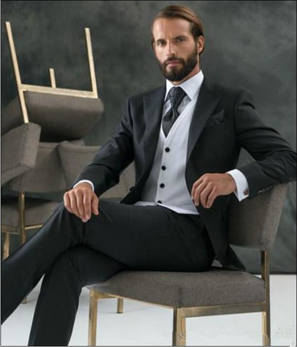 Click to Buy << Classic Black One Button Groom suits for Wedding ...