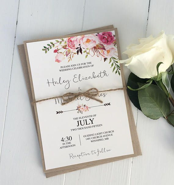 Rustic Floral Wedding Invitation, Pink Floral Wedding Invitation, Boho Chic Wedding invite, Bohemian Invitation, Rose Invitation, Kraft