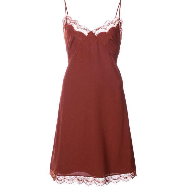 Chloé Lace Trimmed Slip Dress ($1,300) Liked On Polyvore