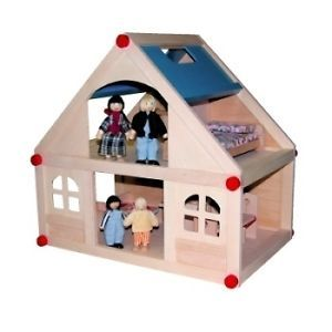 Wooden 2 level open plan Doll House + 10 pcs of furniture + a family of 4 dolls