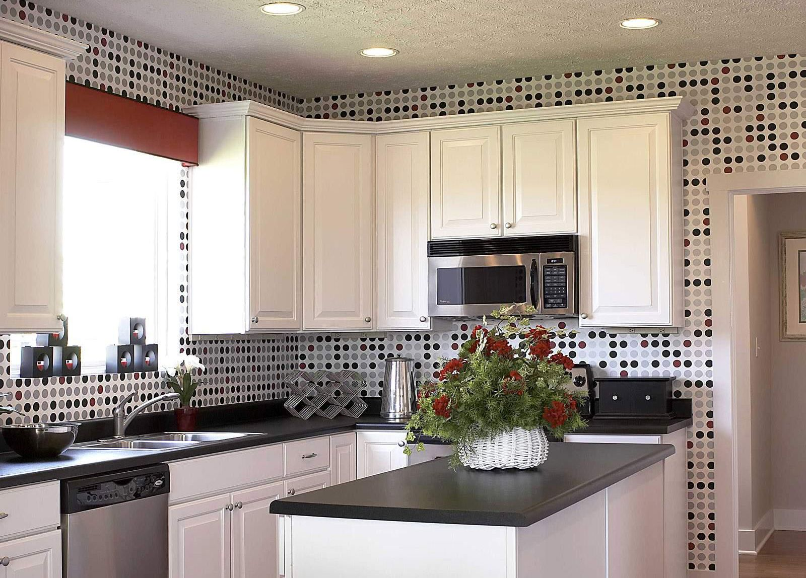 Kitchen Design With Ceramics Motif Black and White KITCHEN