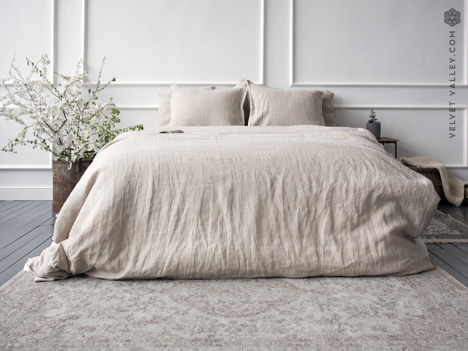 Natural Linen Comforter Cover Softened Unbleached Linen Doona Cover Full Double Queen King Size Duvet Softened Linen Duvet Cover Comforter Cover Linen Duvet Bed Linen Sets