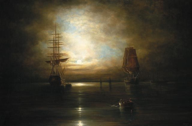 Cornelius Krieghoff, Dutch born Canadian artist of the 19th century. Marine