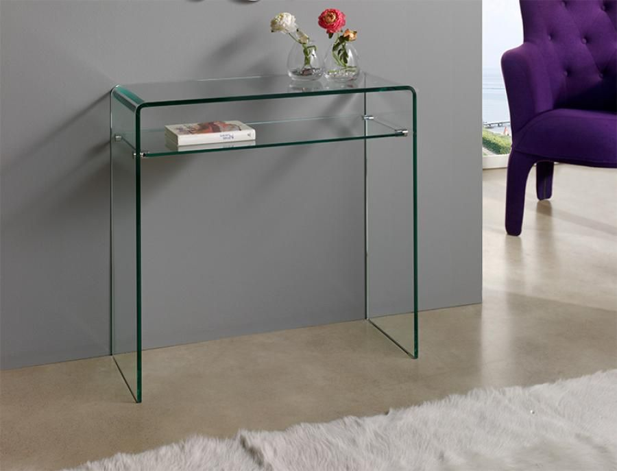 Contemporary Console Table with Shelf in Transparent Glass Hallway