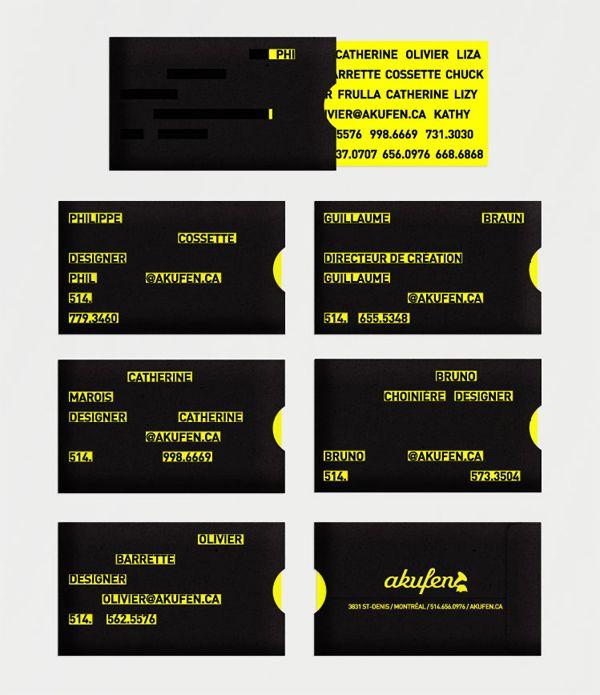 Akufen Business Card J Aime Beaucoup Ce Jeu De Montrer Cacher L Info Business Cards Creative Cool Business Cards Name Card Design