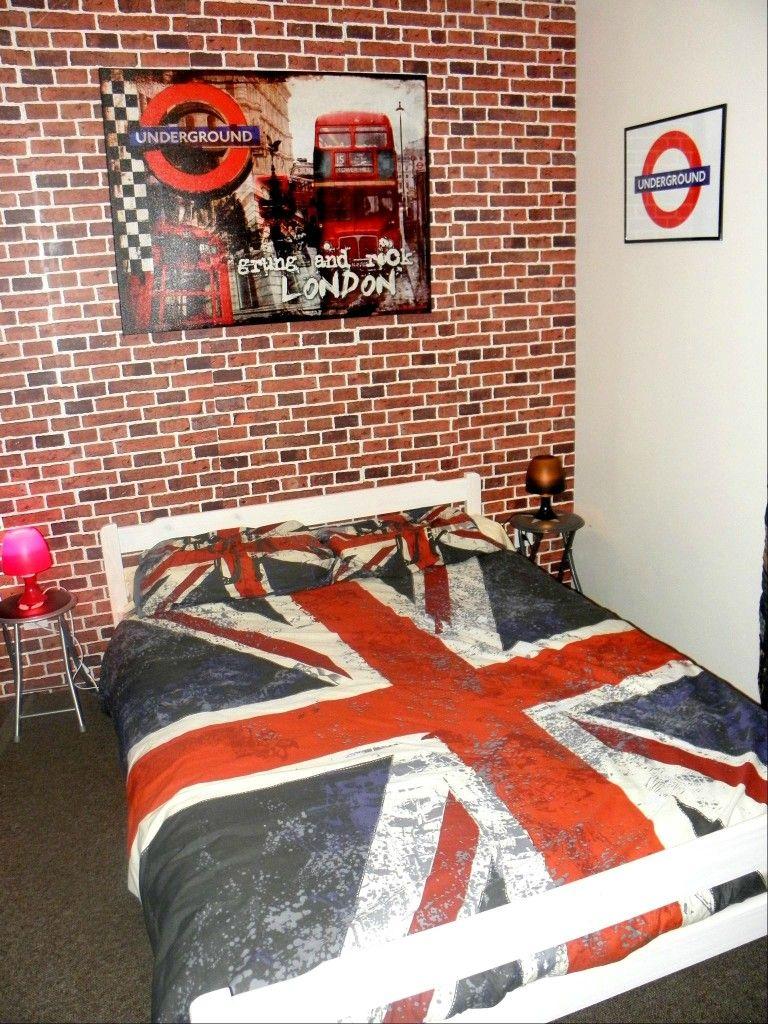Chambre Ado Avec Papier Peint Brique idée deco chambre ado theme london | déco chambre londres