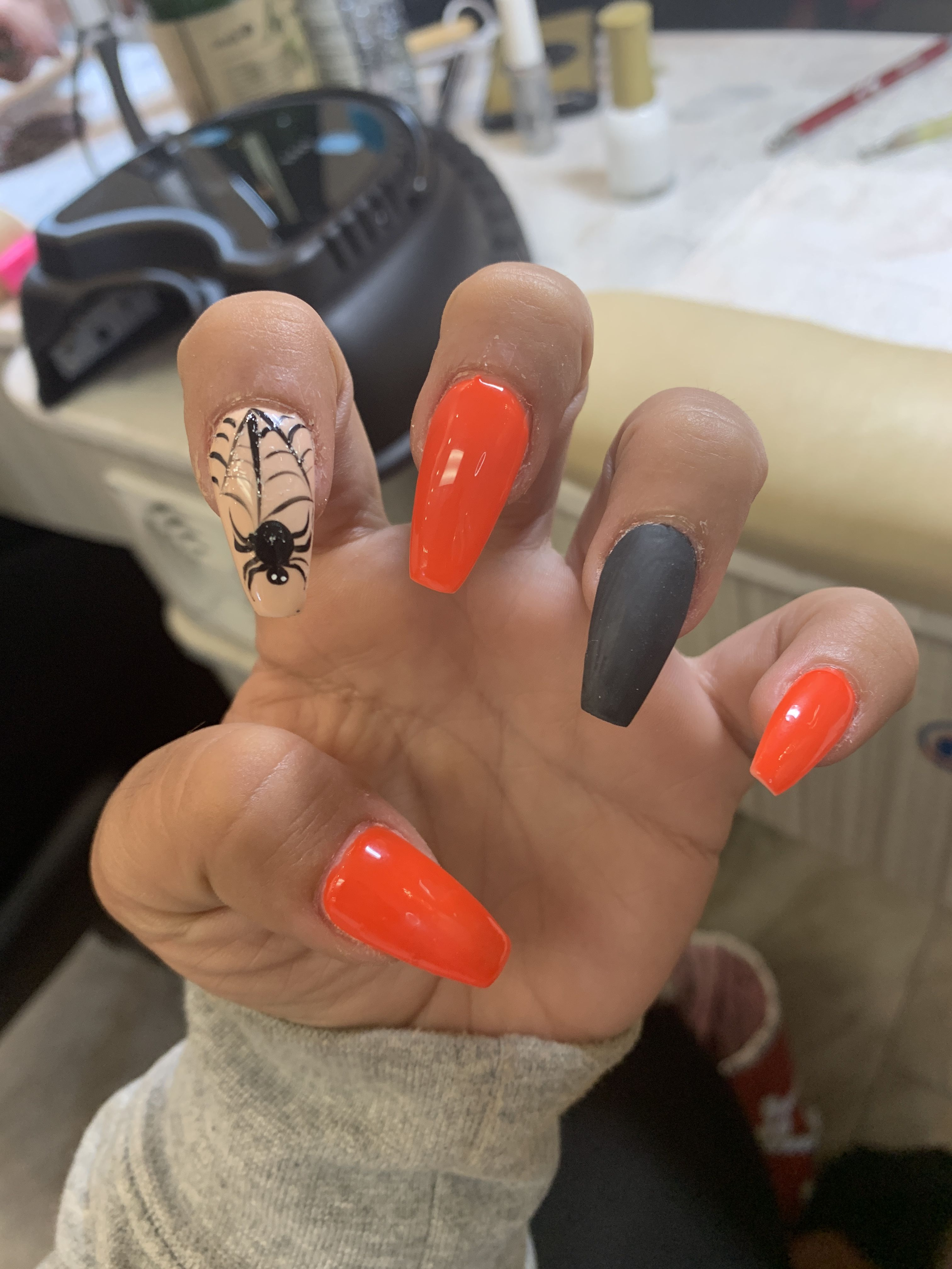 Stiletto Nails Orange And Black Nail Polish Yellow Orange White Ombre Rhinestones Halloween Nails In 2020 Halloween Nail Art Halloween Nails Thanksgiving Nails