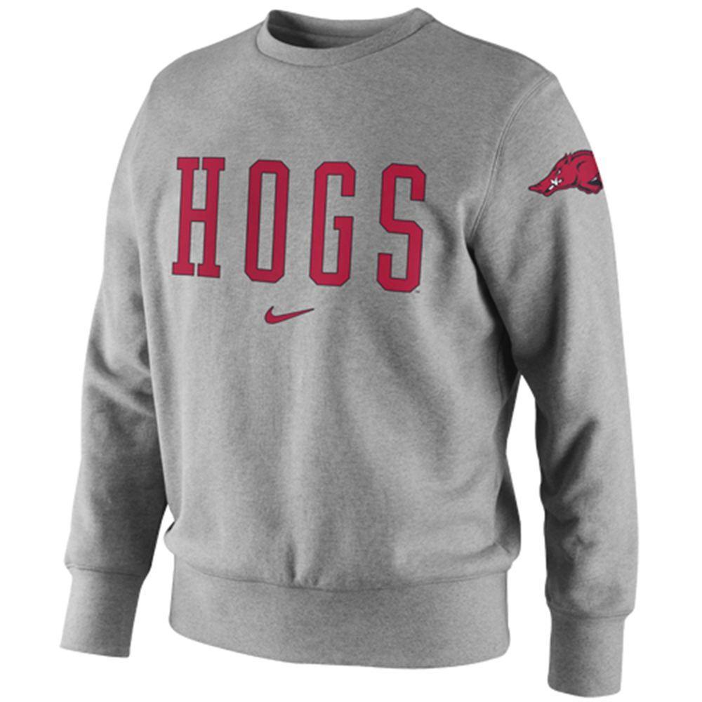 Nike Arkansas Razorbacks University Crew Sweatshirt Ash Crew Sweatshirts Sweatshirts Arkansas Apparel [ 1000 x 1000 Pixel ]