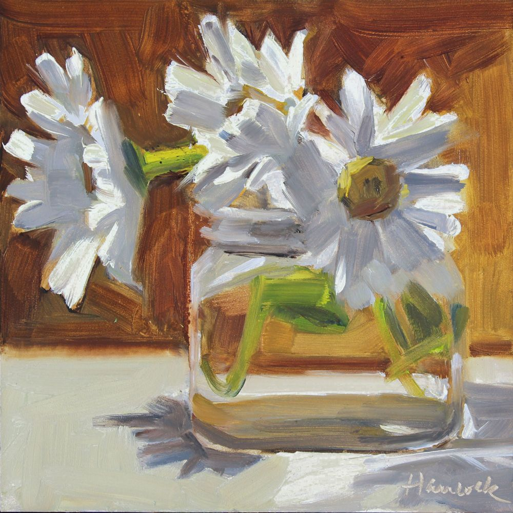 Gretchen hancocks paintings daisies in a square glass jar on gretchen hancocks paintings daisies in a square glass jar on izmirmasajfo Images