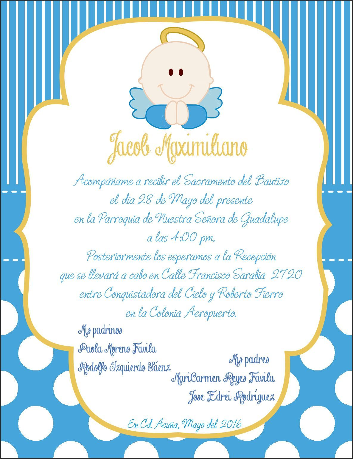 invitacion bautizo angel