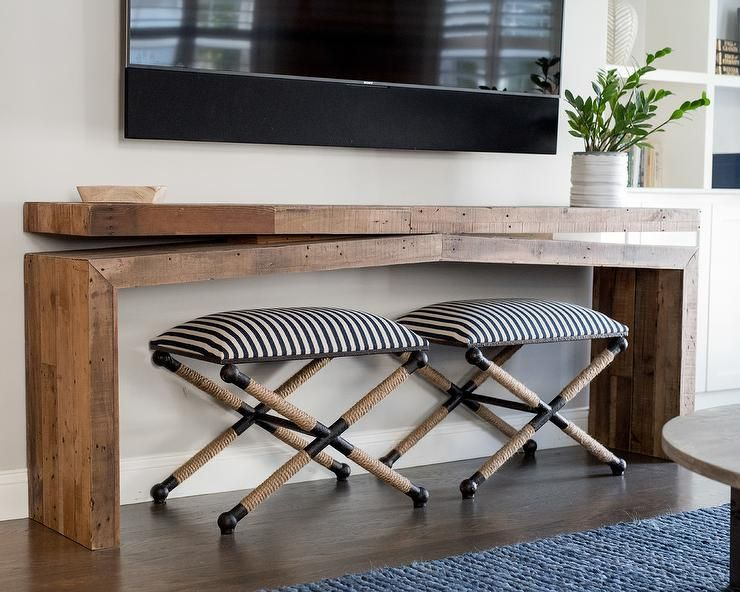 Two Uttermost Braddock Small Benches Sit Beneath A Wood Console
