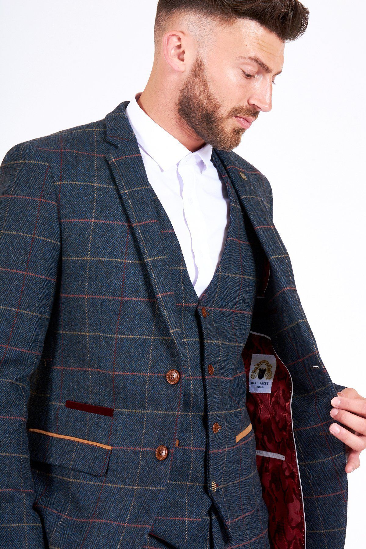 rational construction search for best price reduced ETON - Navy Blue Tweed Check Three Piece Suit - Marc Darcy ...