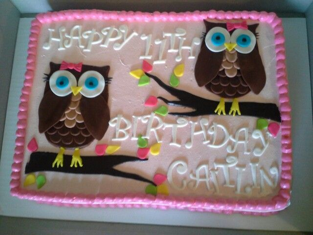 Cute Owl Sheet Cake