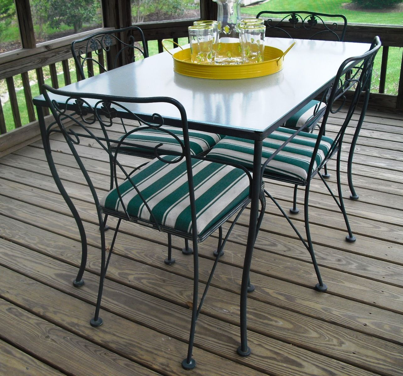 Vintage meadowcraft wrought iron glass top table chairs for Iron furniture