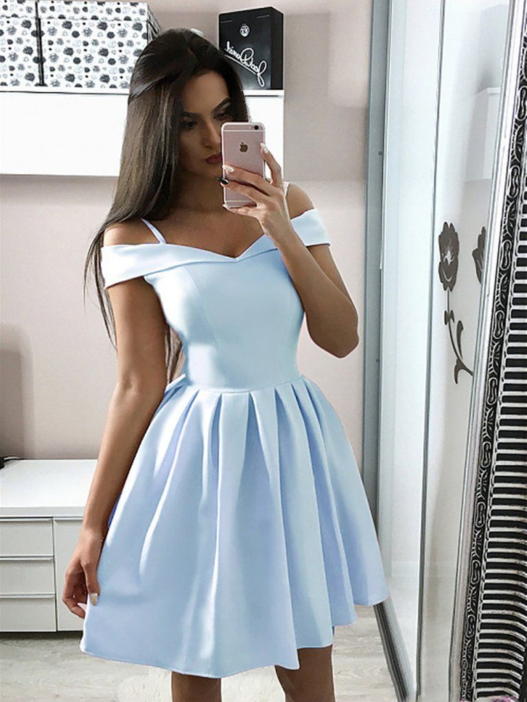 A Line Off Shoulder Short Light Blue Navy Blue Prom Dresses Homecoming Dresses Prom Dresses Short Blue Light Blue Prom Dress Cheap Homecoming Dresses [ 1024 x 768 Pixel ]