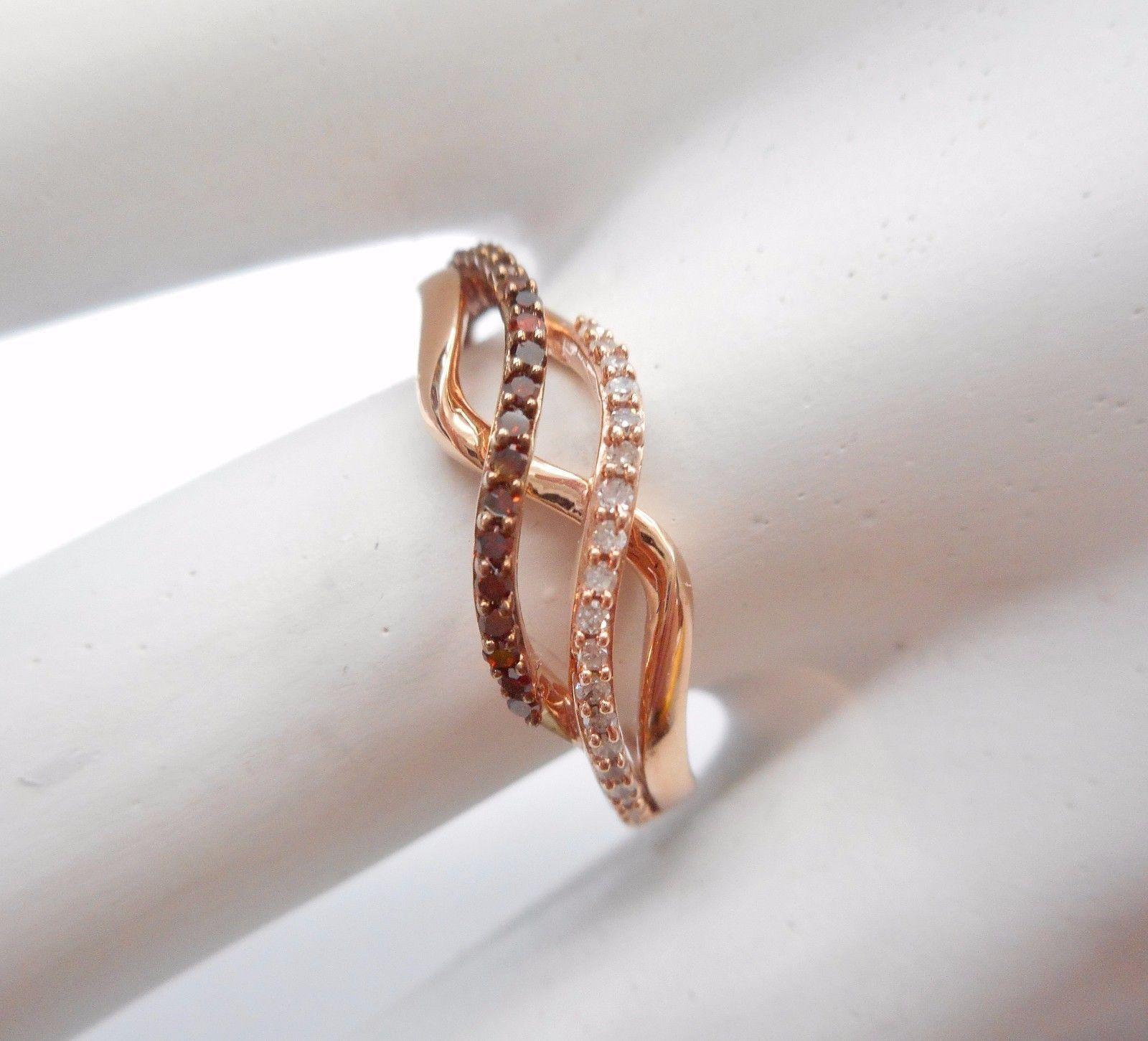 JWBR Kay's 10k Rose Gold Brown & White Diamond Accent .20 TCW Band Ring #2363