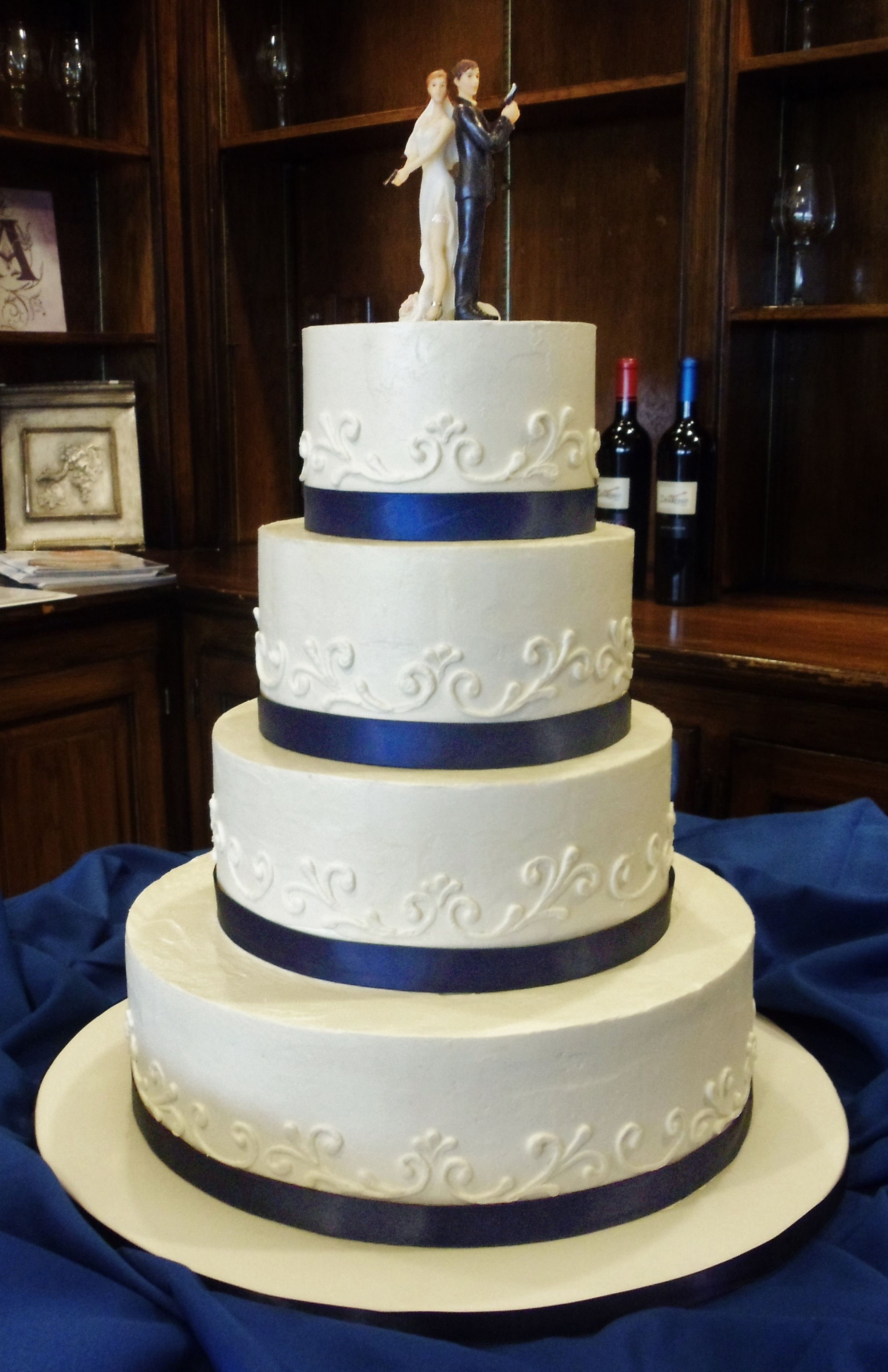 Funny Classic Blue And White Buttercream Cake For Two