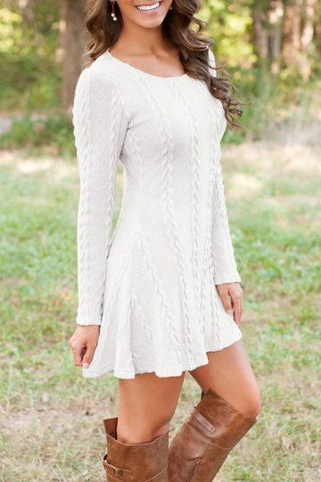 White Cable Knit A-line Dress from mobile - US$23.95 -YOINS