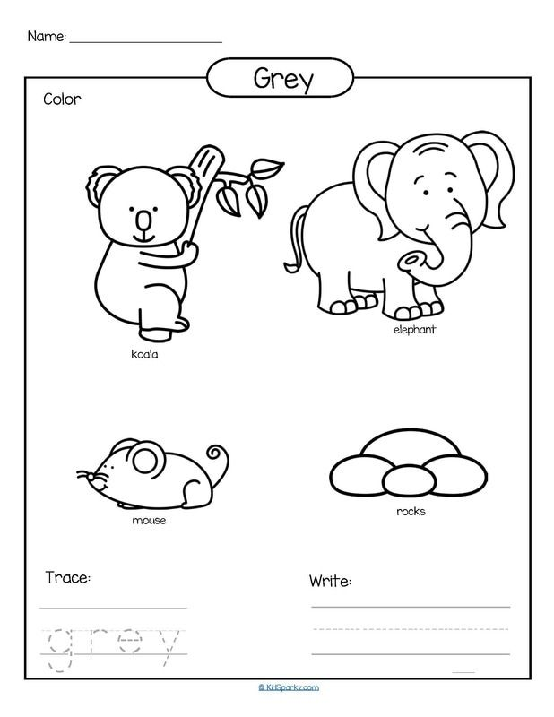 Color Grey Printable Color Trace And Write Sight Words Kindergarten Printables Color Worksheets For Preschool Preschool Coloring Pages