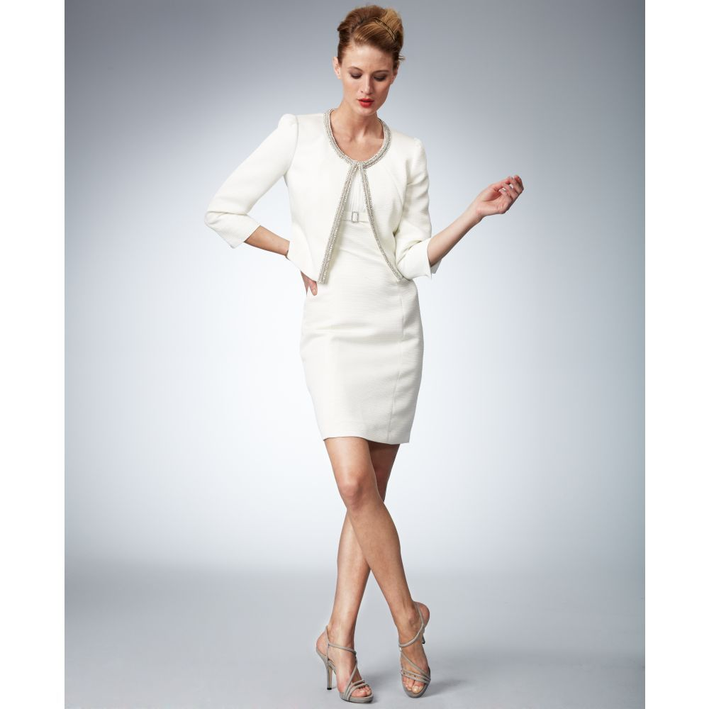 Women's White Threequartersleeve Beaded Jacket Sheath Dress ...