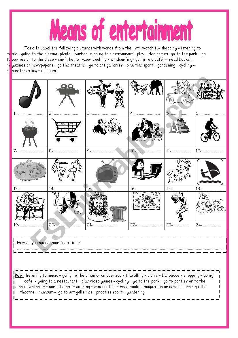Entertainment Vocabulary Vocabulary Vocabulary Worksheets Word Pictures [ 1169 x 826 Pixel ]