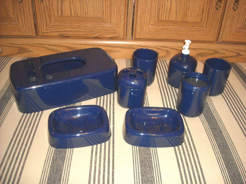 Navy Blue Bathroom Set Soap Dish Dispenser Toothbrush Holder Cup Tissue Unbranded Holders