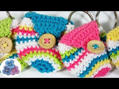 Como Hacer Llavero Monedero a Ganchillo (Mini Bolso de Crochet) DIY ...