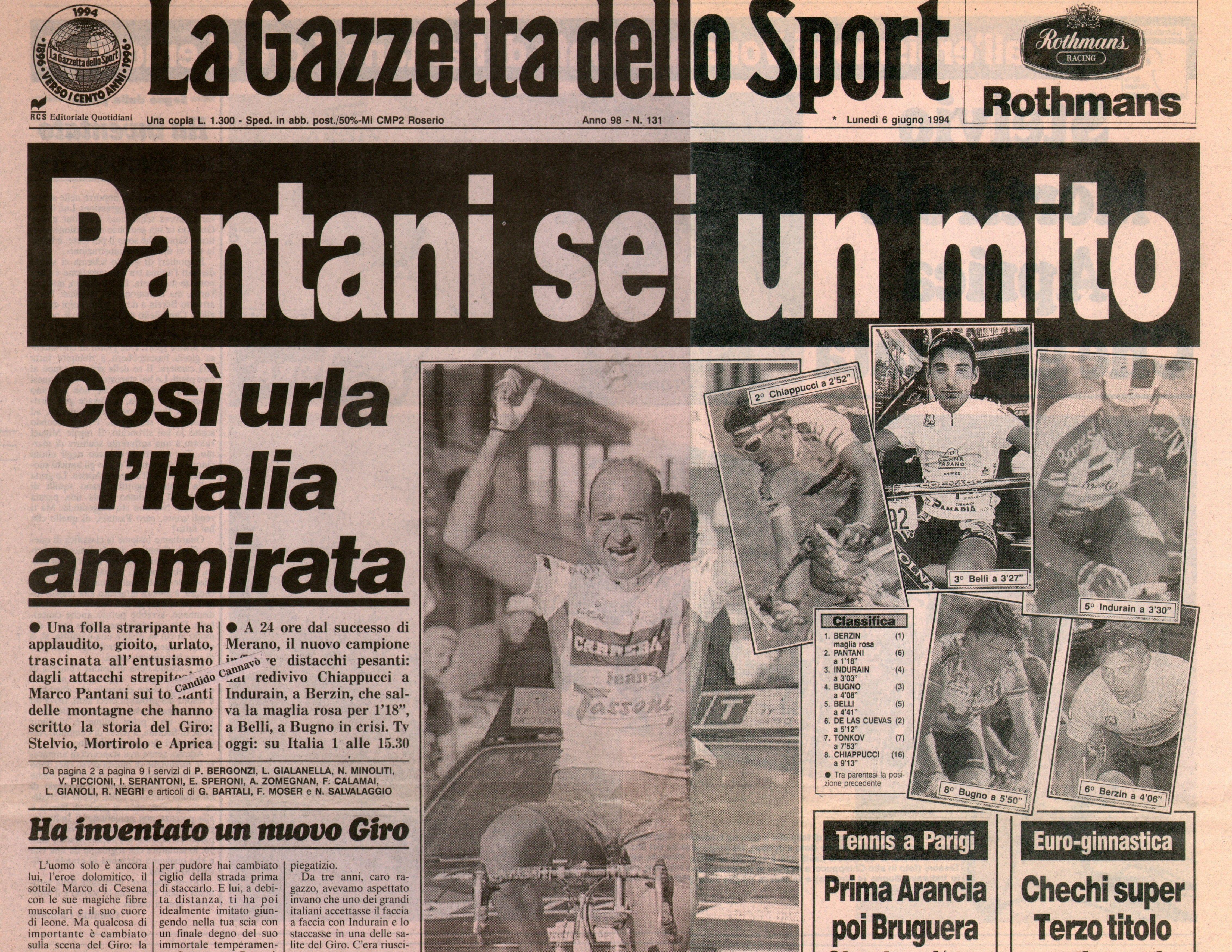 1994 Mortirolo, Pantani sei un mito sulla Gazzetta dello Sport   numerosette.eu