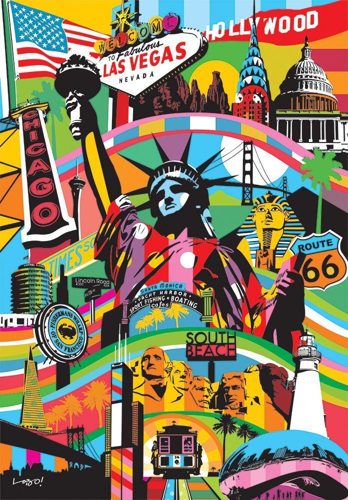 USA America Tableau pop art, Fond d'écran téléphone