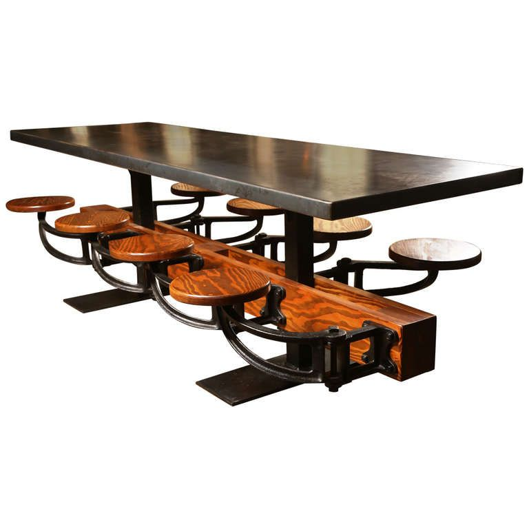 eight seat dining kitchen table with cast iron attached seats and metal top eight seat dining kitchen table with cast iron attached seats and      rh   pinterest com