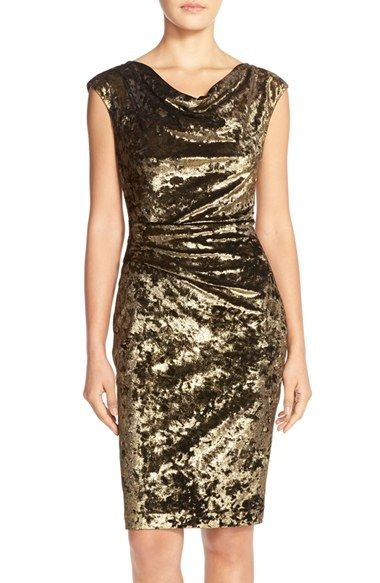 size 2-Vince Camuto Drape Neck Metallic Sheath Dress available at #Nordstrom