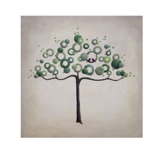 Abstract modern wedding tree painting on por LittleSparrowGallery