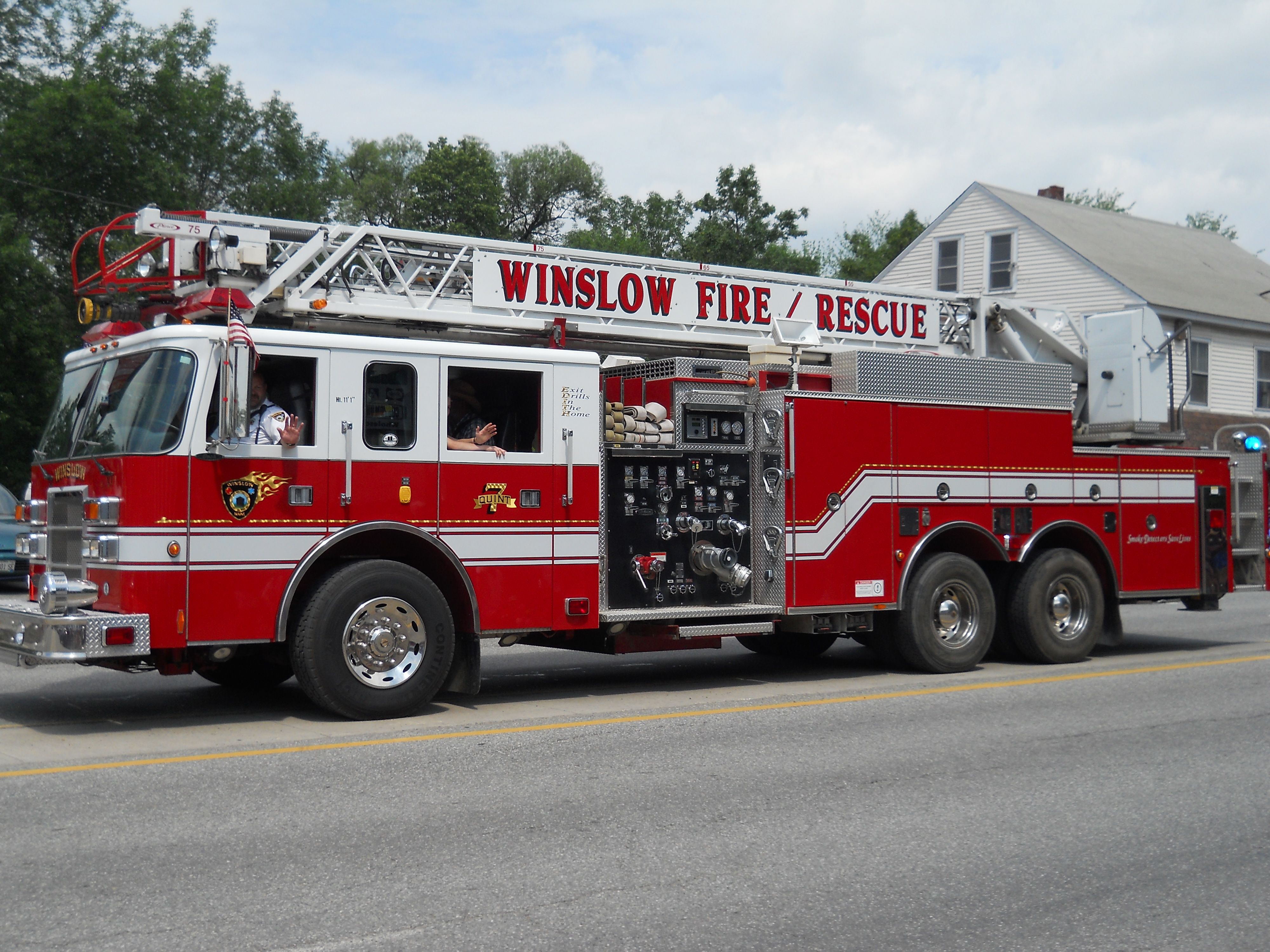 Winslow fire rescue truck practice drills in the home
