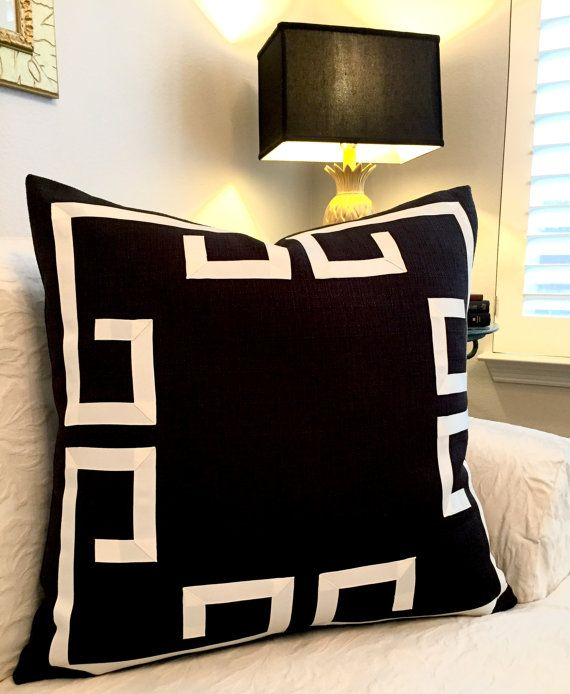 Greek Key Pillow Cover Fretwork Pillow Black and Off White Pillow
