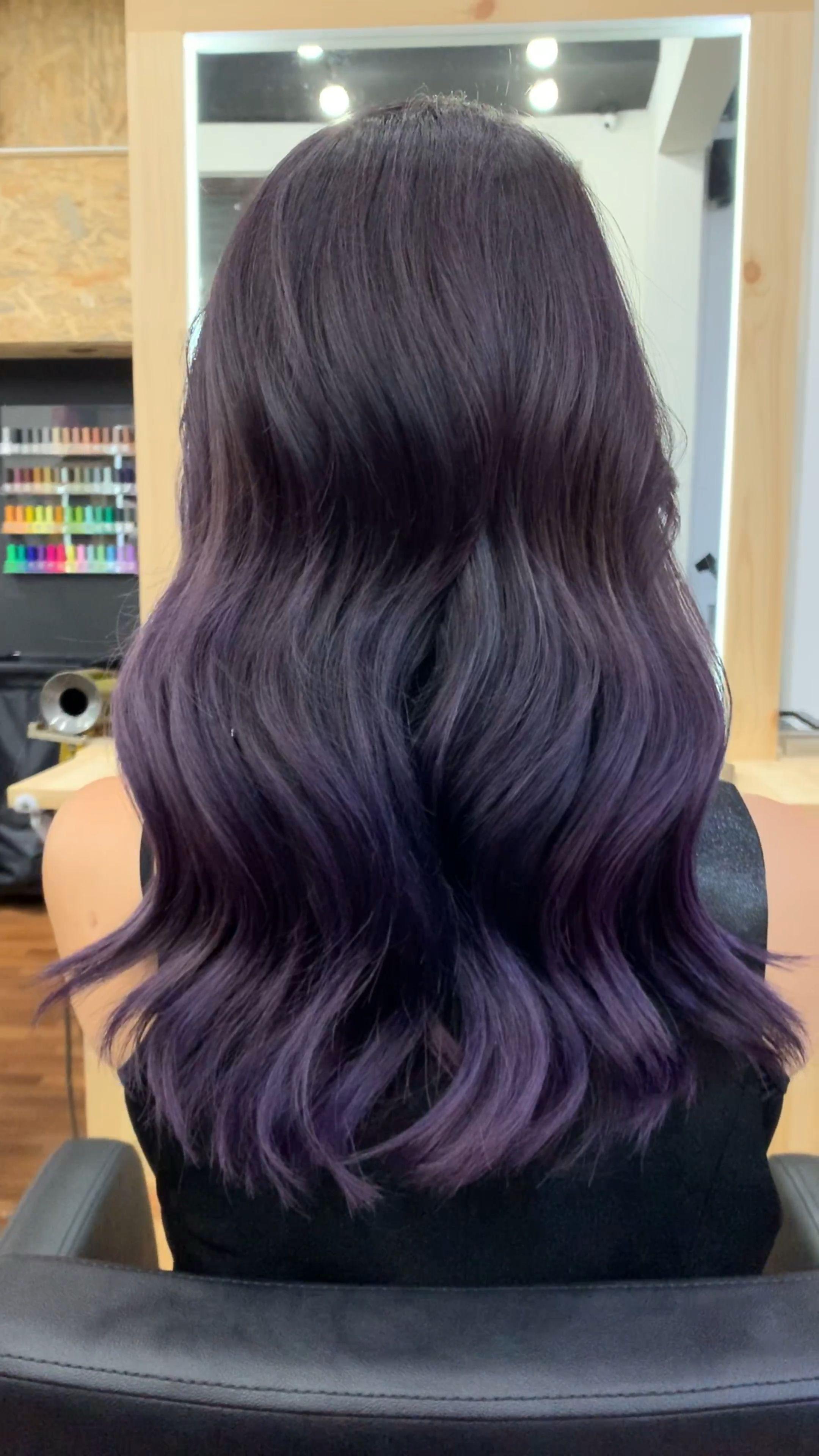 Balayage Hair Purple Subtle Underlights Underlights Hair Black Women Vibrant In 2020 Purple Balayage Underlights Hair Balayage Hair