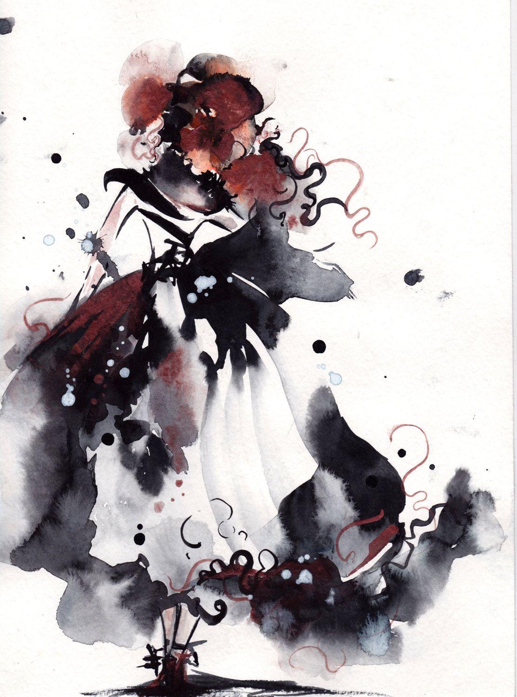 Aquarelle originale peinture moderne abstraite femme par for Art moderne peinture