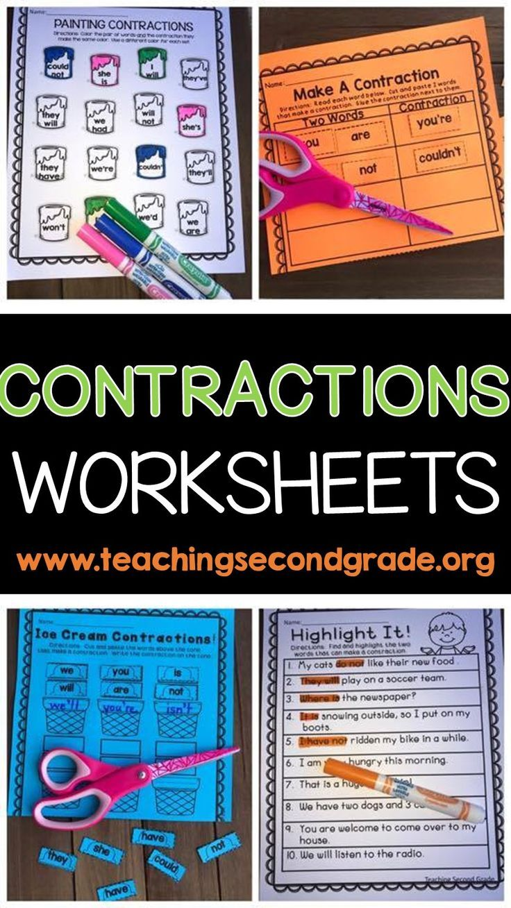 Contractions Contraction Worksheets Early Literacy Activities