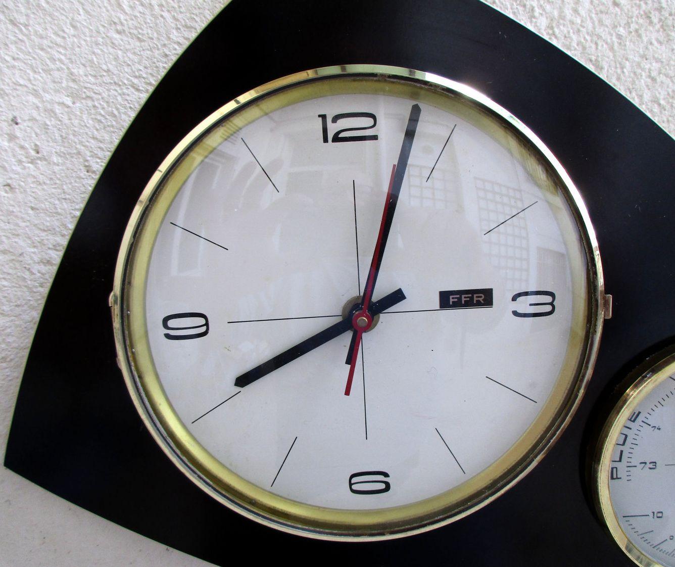 horloge murale barom tre formica noir ann es 60 ann es vintage formica pinterest. Black Bedroom Furniture Sets. Home Design Ideas