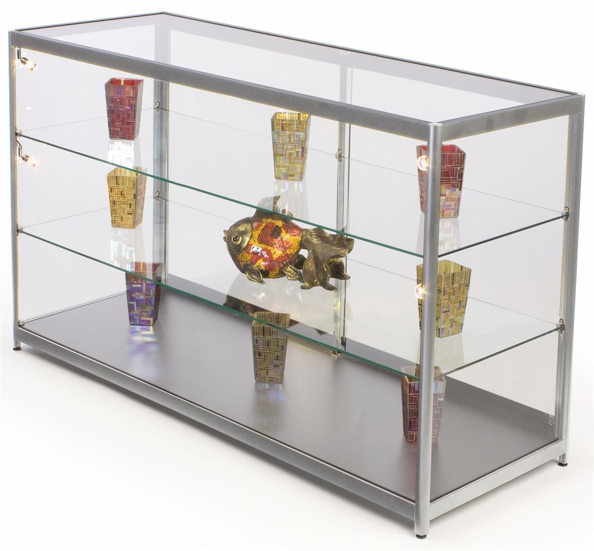 72 Retail Display Counter W Track Lights Sliding Doors Ships Assembled Silver Retail Display Cases Glass Shelves Floating Glass Shelves