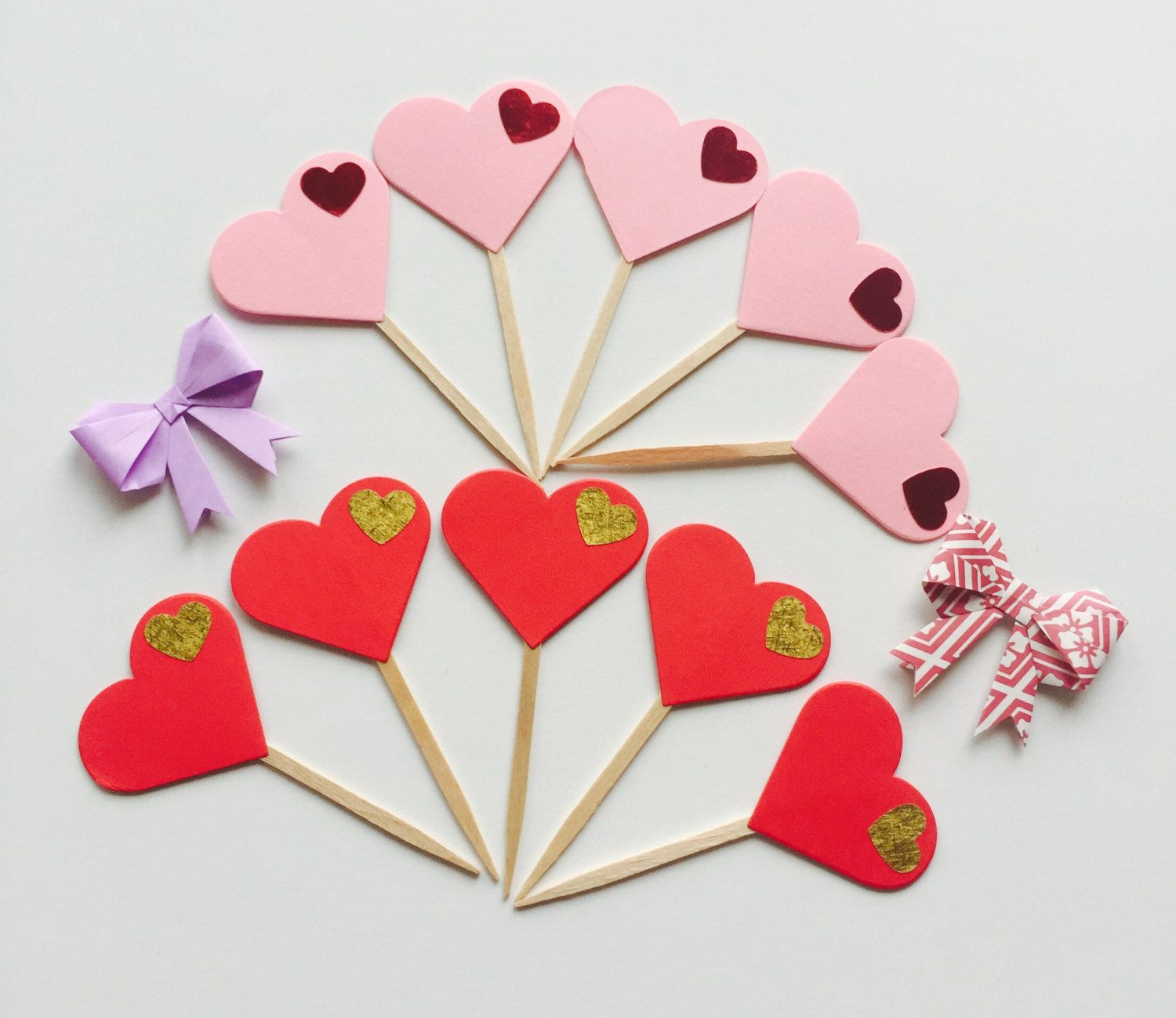 Pink And Red Heart Cake Toppers Cupcake Toppers Valentine S Day Set Of 10 By Hellacrafty415 On Etsy Heart Cake Topper Cupcake Toppers Cake Toppers
