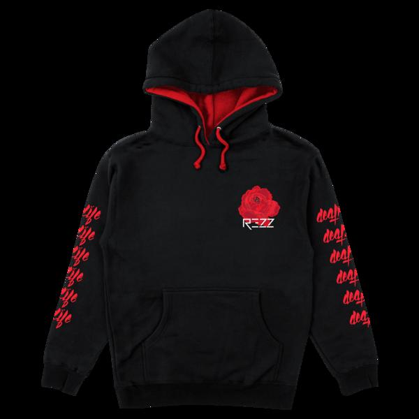 Black Hoodie With Red Lining In Hood Sleeve Chest Back Prints Hoodies Black Hoodie Sleeves