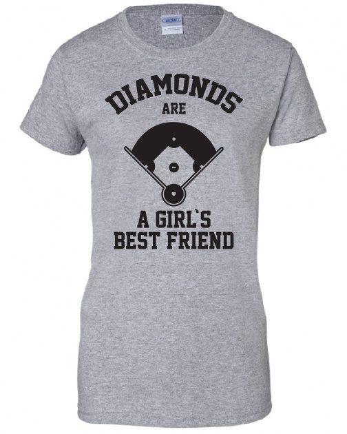 f15aa7e4 Diamonds Are A Girls Best Friend baseball softball sports funny Printed  graphic T-Shirt Tee Shirt Mens Ladies Women Youth Kids ML-310b