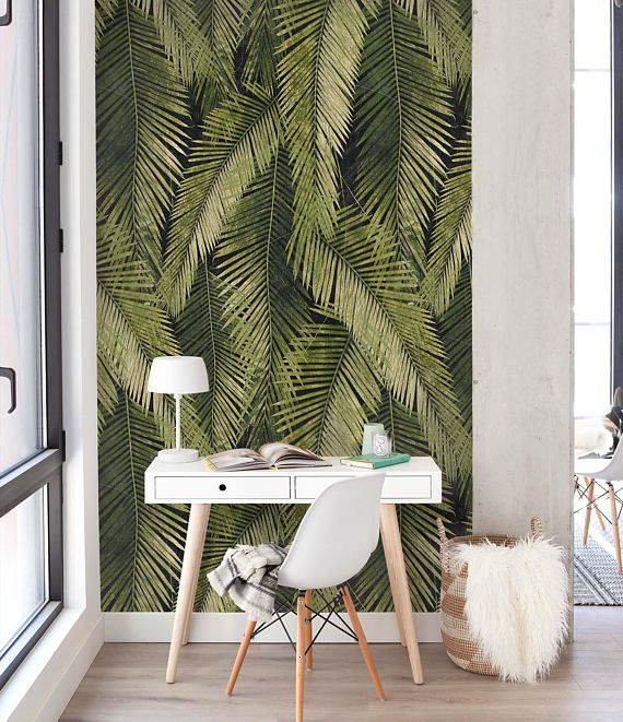 Green Banana Palm Leaf Wallpaper Is Based On Vintage Botanical Illustrations That Guarantees An Extreme Exotic Feminine Look And Might Be One Of Th