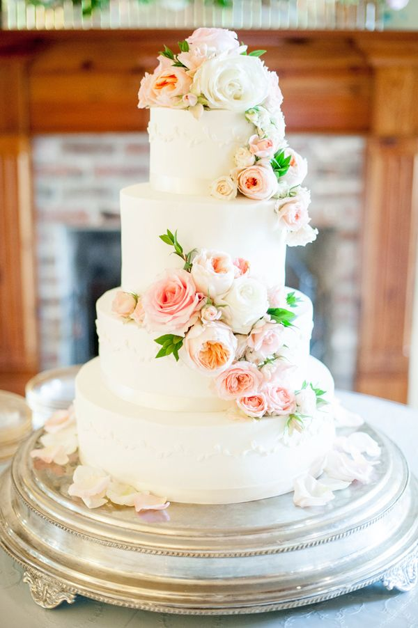 elegant wedding cakes with flowers backyard wedding by upchurch southern 13987
