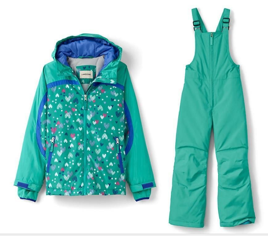 820acf871a58 Lands End 12 Girl Jacket+Bib SET Green Hearts Coat Stormer Snowboard ...
