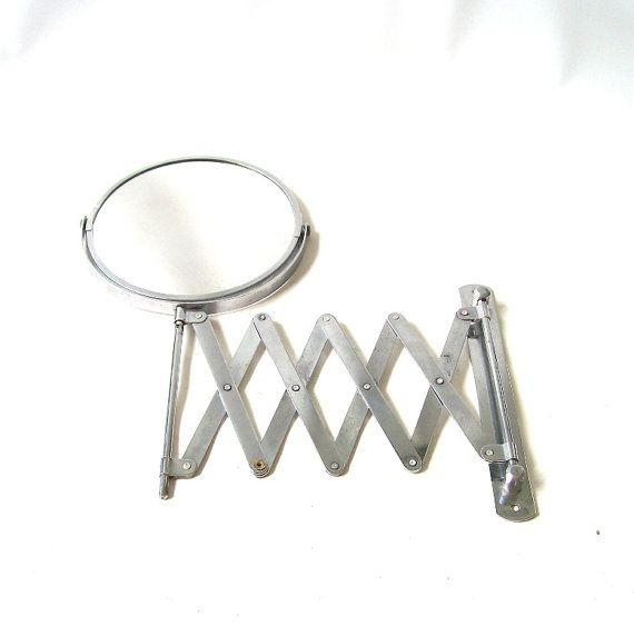 vintage 1960's bathroom mirror vanity double sided wall hanging mountable mounted chrome silver decorative home decor mid century modern on Etsy, $50.00