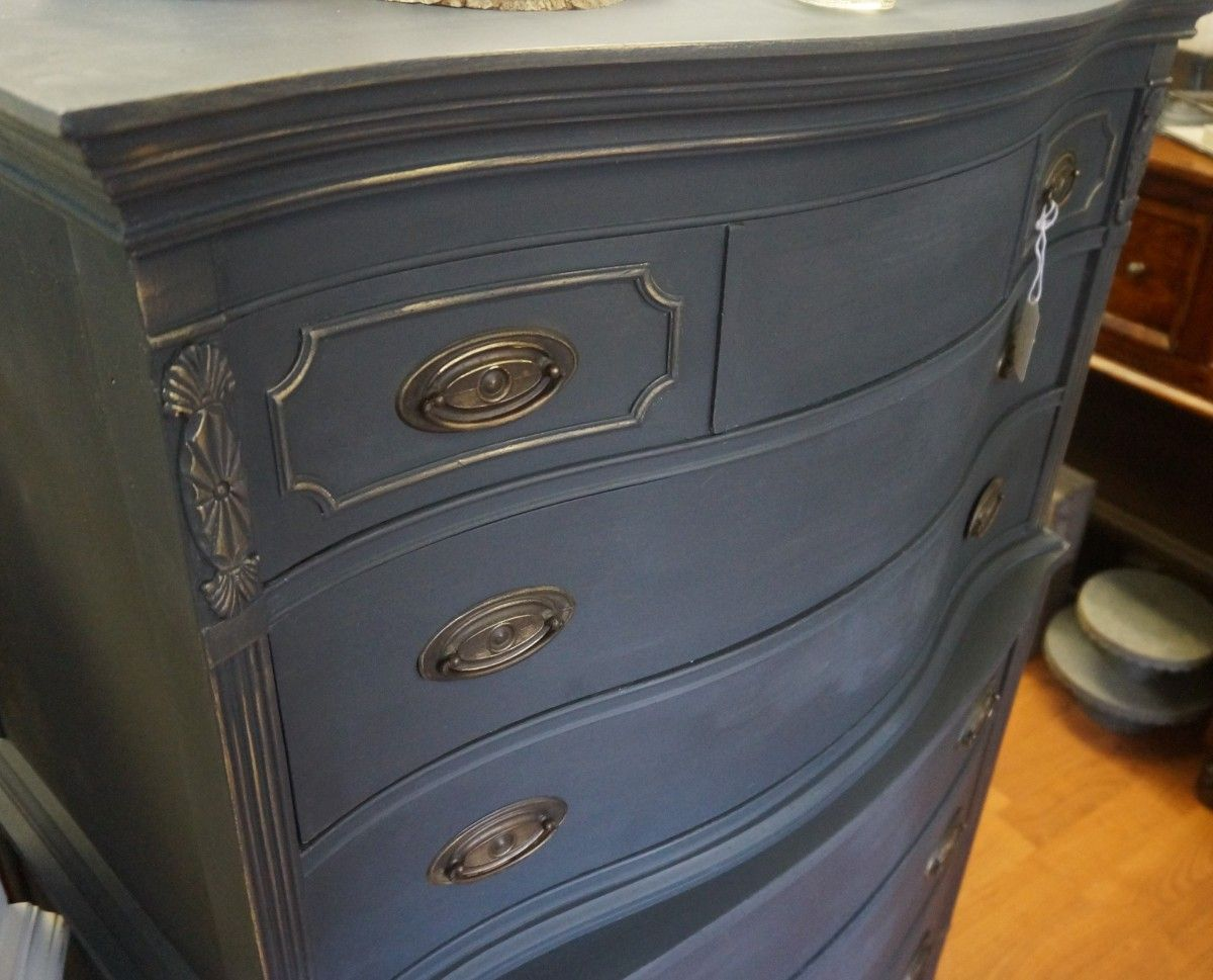 Antique High Boy Dresser Finished In Annie Sloan Graphite Chalk Paint And  Touched With Gold Wax